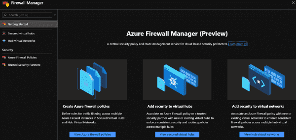 Azure Firewall Manager acts as a central management console