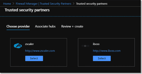 Azure Firewall Manager currently supports two third party trusted security partners