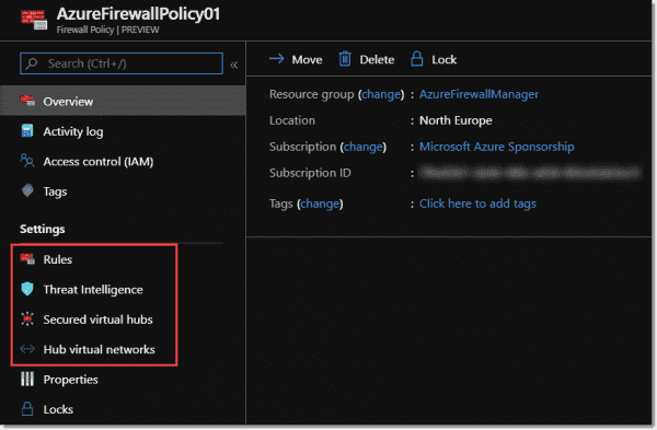 Azure Firewall policies include rules and threat intelligence settings