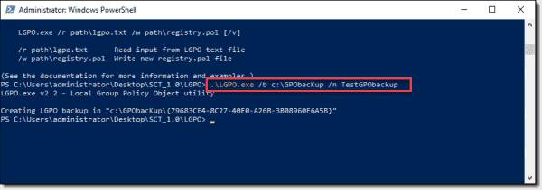 Backing up local policy settings to a GPO backup using LGPO.exe