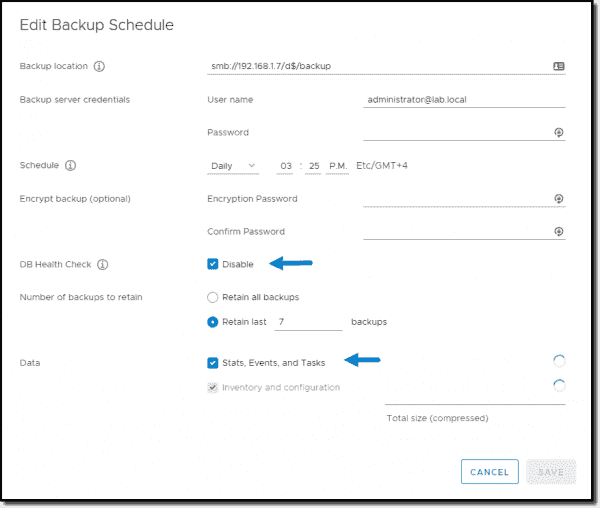 Backup options and ability to disable DB health check