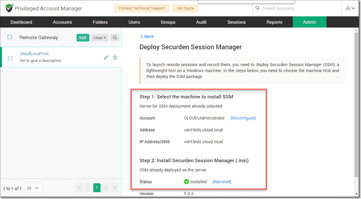 Configure the Securden Session Manager
