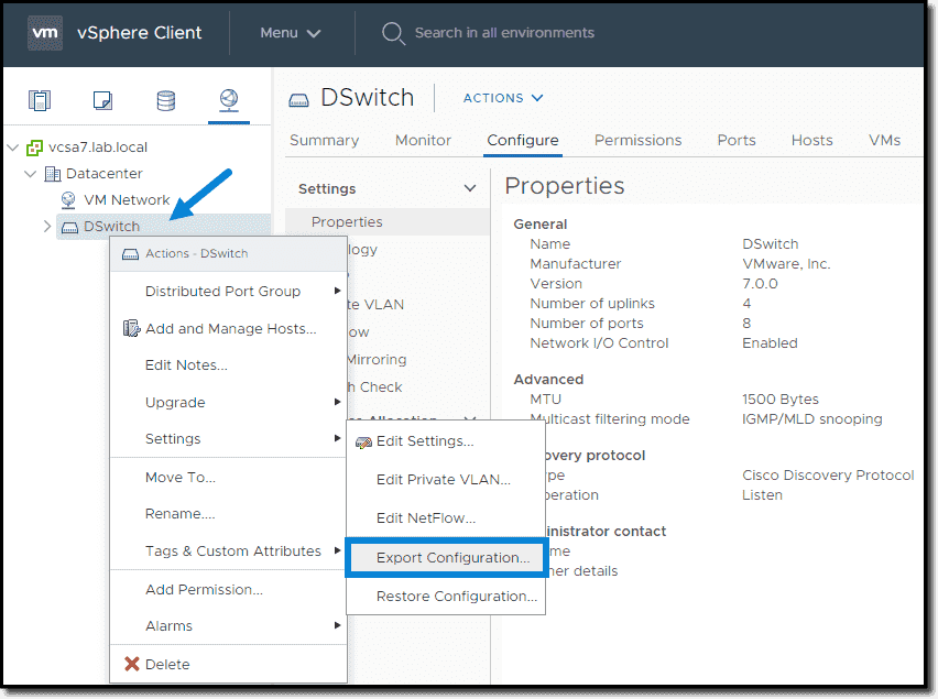 Export VMware vDS Configuration prior to backup