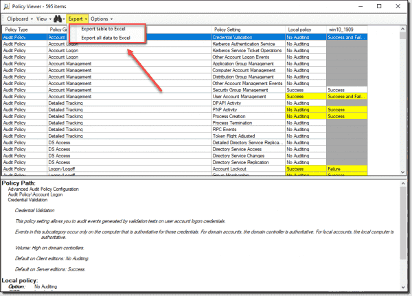 Export results to Excel