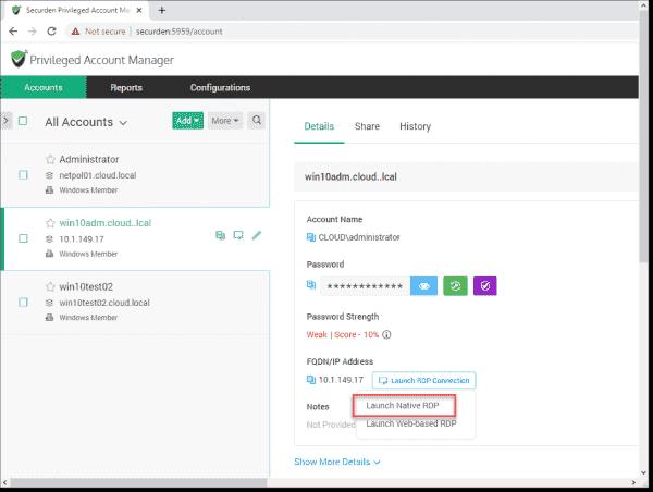 Launch the Native RDP connection via Securden Remote Gateway server