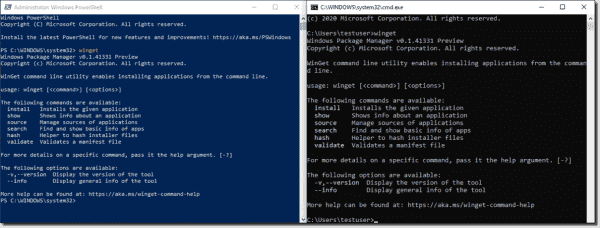 Launching winget from the cmd prompt and from PowerShell