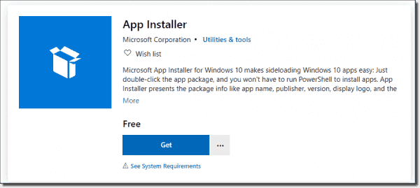 Look for the App Installer in the Microsoft Store
