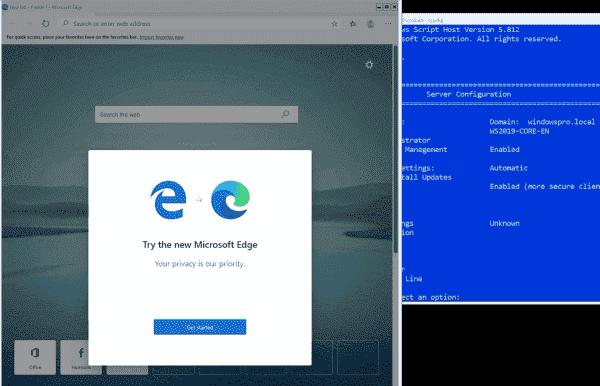 Running Edge Chromium 79 on Windows Server 2019 Core