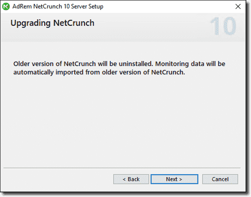 Running through the wizard to upgrade the NetCrunch installation