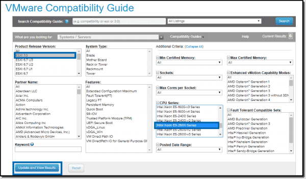 Select ESXi 7.0 and your CPU model