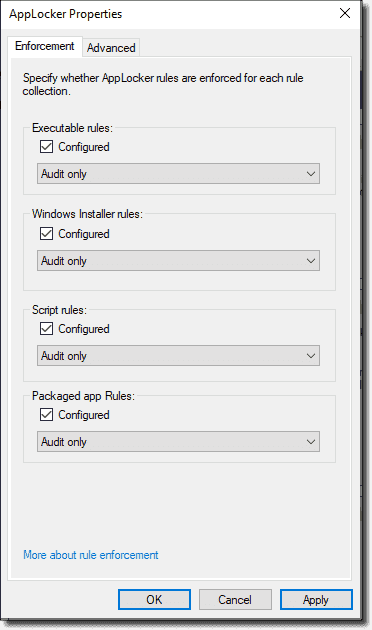 Setting all AppLocker categories to Audit only