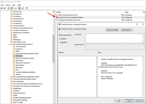 Setting to configure Defender Antivirus to computate file hashes