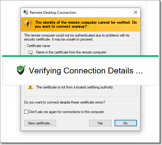 The Securden Remote Launcher application uses the native Windows MSTSC to connect to the remote server