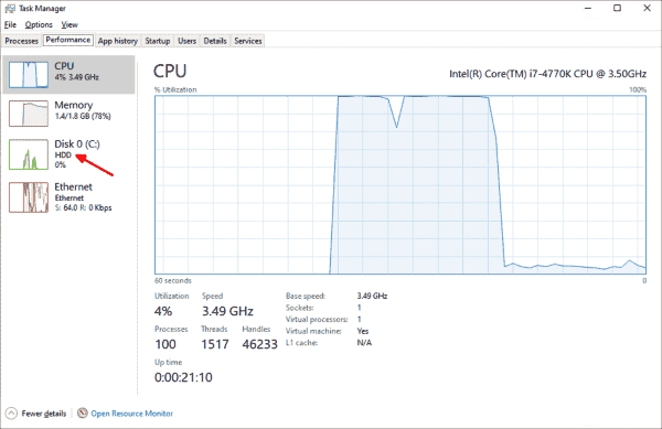 The Task Manager now displays the type of drives the computer has