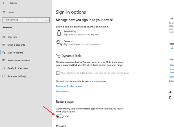 The automatic restart of apps after a Windows 10 reboot can now be explicitly enabled and disabled