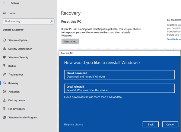 The installation of Windows can now be reset by the system downloading the required files from the internet