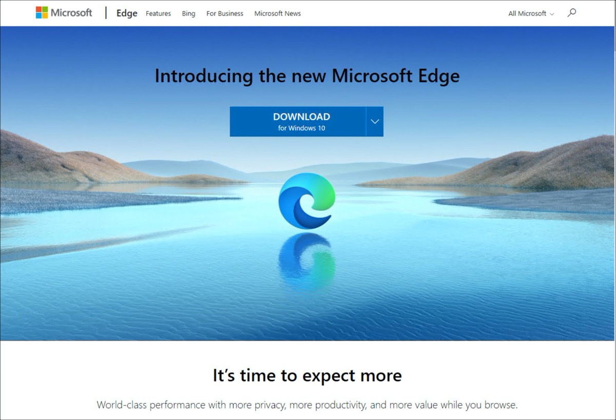 The old version of Edge offers to download Edge Chromium the first time it is started