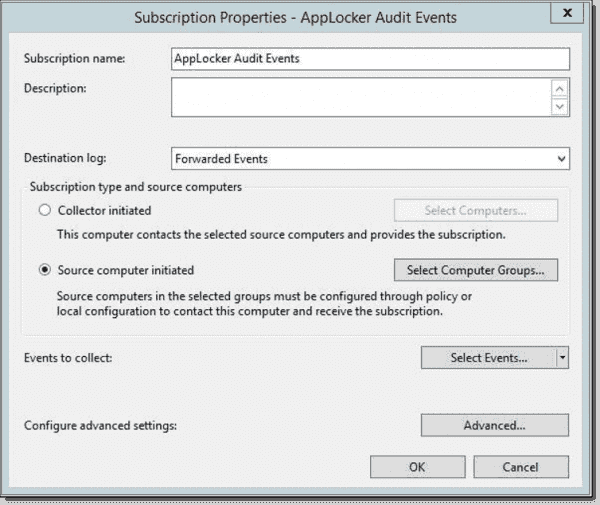 The server that collects the logs needs to have an event subscription configured