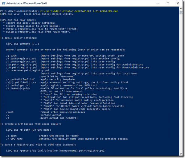 Viewing the LGPO.exe command line options