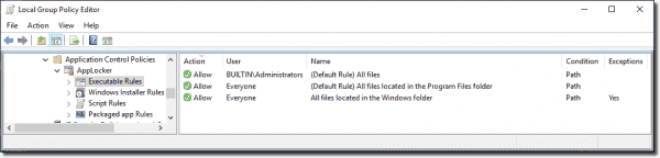 You can safely allow everything from Program Files to run as long as the user doesn't have admin rights