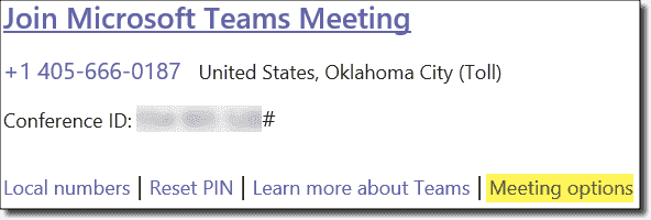 Accessing meeting options from the invitation