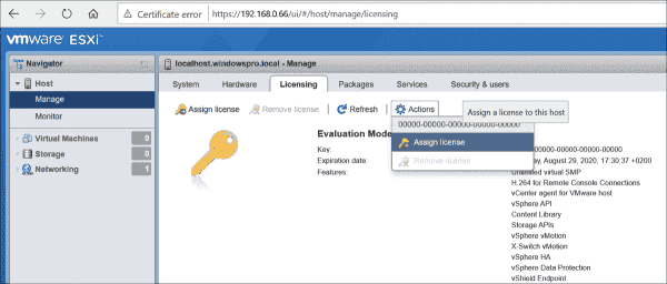 Assigning ESXi free license keys via the host client