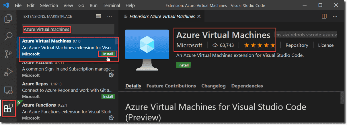 Azure Virtual Machines is just one of the Azure extensions available for VSCode