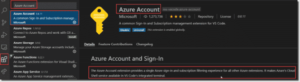 Azure account allows a central sign in experience