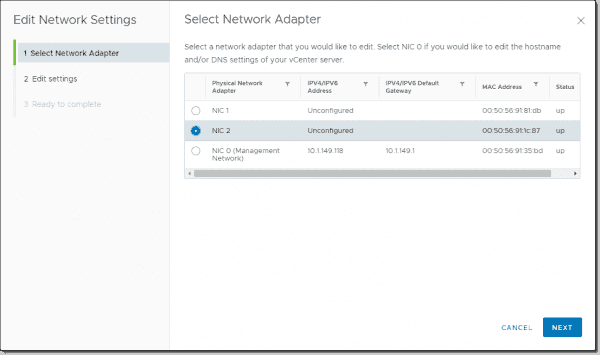 Beginning the wizard to configure additional network adapter settings for VCSA 7