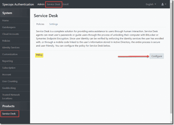 Configuring the service desk policy