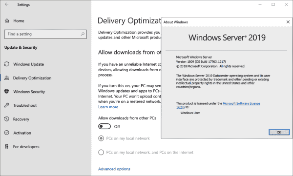Delivery optimization can also be used with Windows Server, but it is deactivated by default