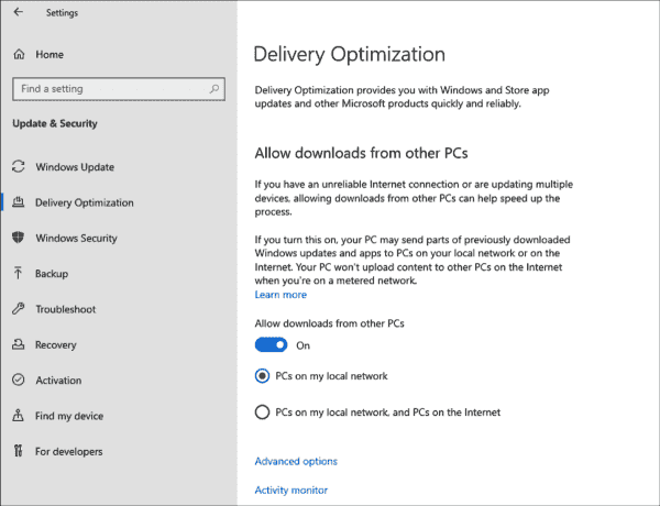 Delivery optimization is activated in all editions of Windows 10 by default