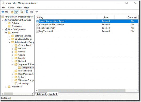DesktopComposer specific group policy settings