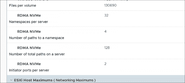 ESXi 7.0 provides support for NVMe over RDMA