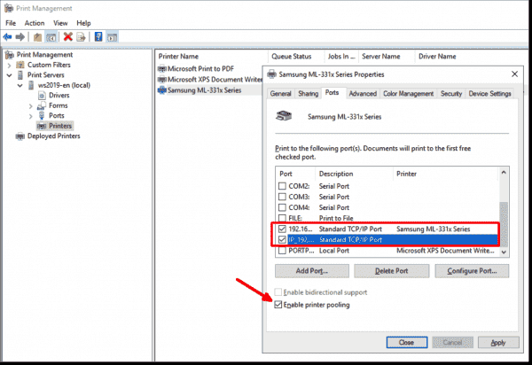 Enabling print pooling and assigning multiple ports to the logical printer