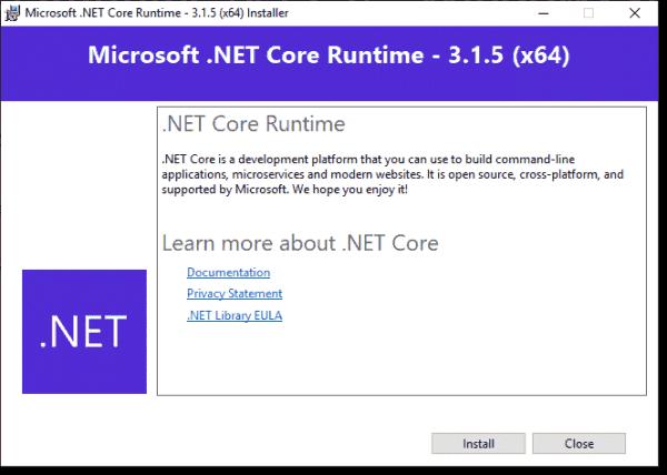 Installing .NET Core 3.1 Runtime on the ScriptRunner server