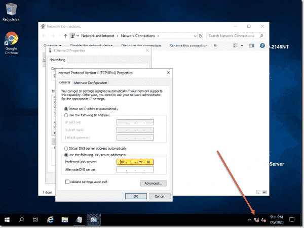 Network is disconnected on a Windows test VM
