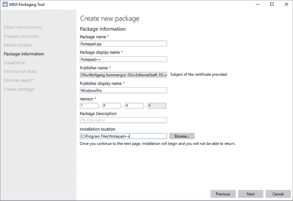 Package information for the new MSIX