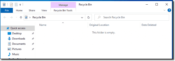 Recycle Bin after cleanup