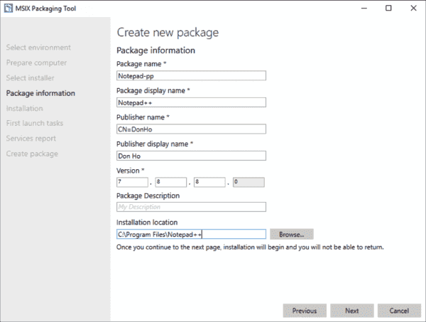 Repackaging of applications with the MSIX Packaging Tool, in this example of Notepad++