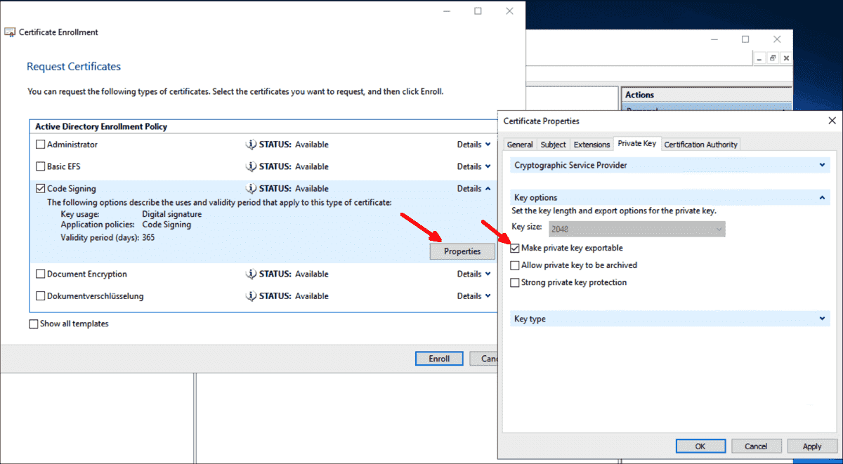 Select the code signing template and make the private key exportable
