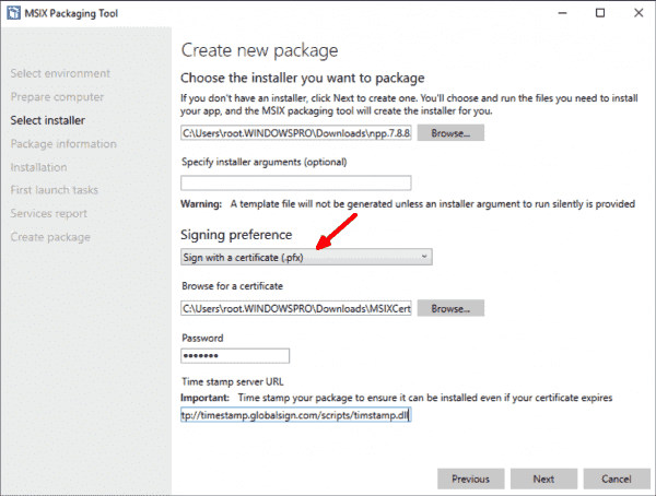 Selecting the traditional installer and method for signing the package