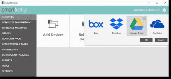 SmartDeploy App deployments using common cloud storage providers