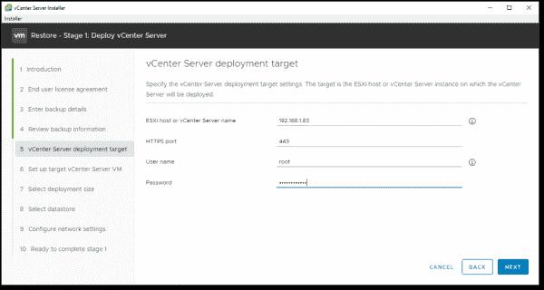 Specify the vCenter Server deployment target