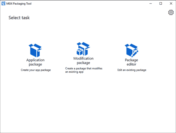 Start screen of the MSIX Packaging Tool
