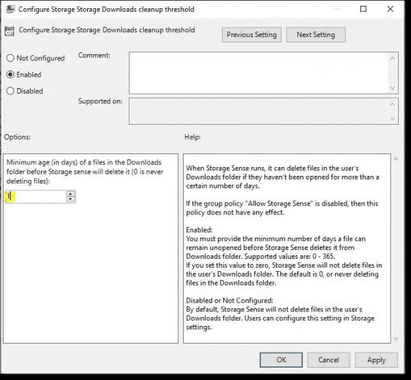 Storage Sense Downloads cleanup threshold