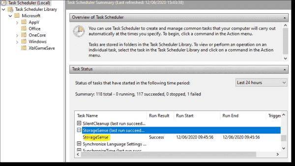 Storage Sense Scheduled Task
