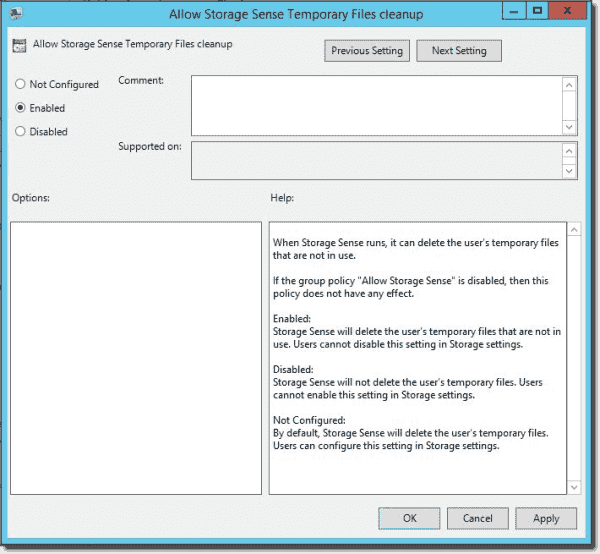 Storage Sense temporary files cleanup