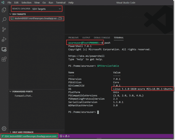 The VM is ready to be managed via SSH in VSCode