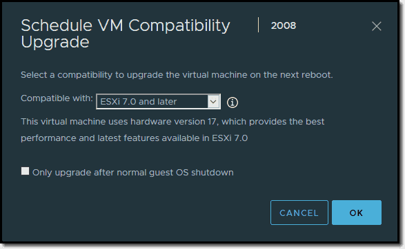 VM will be compatible with vSphere 7
